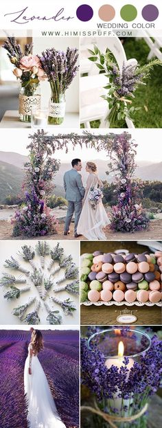 Top 10 Green Wedding Color Ideas For 2019 Trends You'll Love - lavender wedding purple wedding color palette spring bridal shoot - Lavender Wedding Colors, Spring Wedding Colors, Lavender Wedding Cakes, Purple Wedding Themes, Green Purple Wedding, Rustic Purple Wedding, Lavender Weddings, Spring Weddings, Wedding Colors For Spring