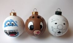 Classic Rudolph the Red-Nosed Reindeer Hand Painted Holiday Ornament Set of 3! Also available individually from Ginger Pots on Storenvy! Disney Ornaments, Painted Christmas Ornaments, Hand Painted Ornaments, Holiday Ornaments, Christmas Decorations, Ball Ornaments, Office Christmas, Christmas Holidays, Christmas Bulbs