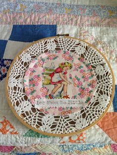 Vintage Doily Hoop Art by MercantileonMayberry on Etsy.   The back is covered in felt