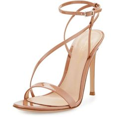 Gianvito Rossi Carlyle Patent Strappy 105mm Sandal (2,755 PEN) ❤ liked on Polyvore featuring shoes, sandals, heels, nude, ankle tie sandals, strap heel sandals, heeled sandals, ankle strap heel sandals and nude shoes