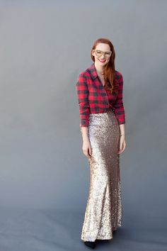 Sequin Maxi Outfit Idea #1. Wear a sequin maxi skirt with a large plaid shirt and lace-up boots. A cute mix of masculine and feminine.