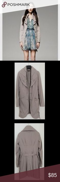 Sisley / Benetton Trench Coat • Very stylish trench coat by Sisley/ Benetton; from past collection, so sold out everywhere • Size 38 (IT), 2 (US) • Fully lined • Material: outside (62% polyester, 38% nylon); lining (100% cotton). • Color changes from more beige to more grey depending on the light. Very nice soft material that doesn't wrinkle much. • Pre-loved, but in a very nice condition Sisley Jackets & Coats Trench Coats