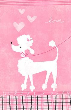 Poodle and love hearts