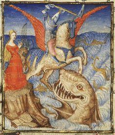 15th century (first quarter?) France?  Paris, Bibliothèque nationale de France  Français 606: L´Epistre Othea by Christine de Pisan. Perseus slaying the sea monster, saving Andromeda