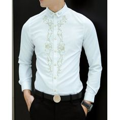 $18.41 Stylish Turn-down Collar Slimming Embroidery Embellished Long Sleeves Men's Cotton Blend Shirt
