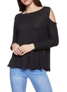 17c58dd3635e Long Sleeve Cold Shoulder Top - Black - Size M
