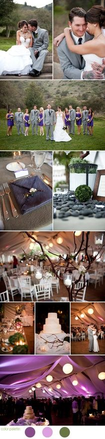organic purple and moss green outdoor wedding - California winter wedding