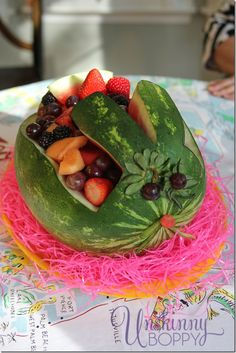 Easter Bunny from a watermelon! So cute for a Spring party table.