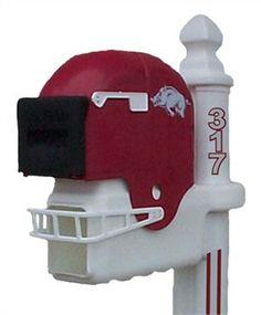 Razorback Football   Arkansas Razorbacks Football Helmet Mailbox