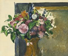 Lot | Sotheby'sPAUL CÉZANNE 1839 - 1906 FLEURS DANS UN VASE ROUGE Oil and pencil on canvas 18 by 21 3/4 in. 46 by 55 cm Painted circa 1880-81.