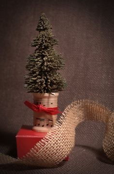 ~ Bottle Brush Tree on Spool ~ Another us for my vintage sheet music....