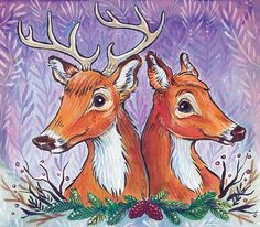 February Deer Couple by Candace Camling