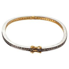 Check out this item at One Kings Lane! Oval Diamond Hinged Bangle