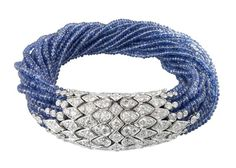 Cartier - Sapphire & Diamond torsade bracelet