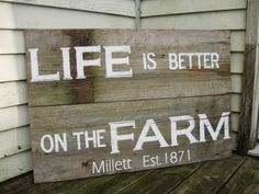 Rustic Wood sign 24 x 36 Country decor  Life is by truelovecreates, $105.00