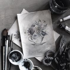 Good morning blooms.   #watercolor #dullandgrey by kwittyb