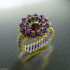 Swarovski rivoli with TOHO seed beads - ring