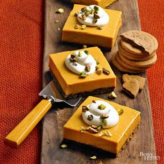 Pumpkin Icebox Pie with Pistachio-Gingersnap Crust