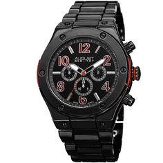 August Steiner Men's Swiss Quartz Multifunction Red Bracelet Watch