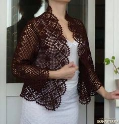 Women who reach a particular age must create their individual and special personal design, which Crochet Bolero Pattern, Free Crochet Doily Patterns, Gilet Crochet, Crochet Coat, Crochet Jacket, Freeform Crochet, Crochet Blouse, Crochet Clothes, Bikini Crochet