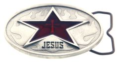 Jesus Star belt buckle made from Pewter with red transparent epoxy fill