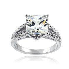 ICZ Stones Sterling 5ct TGW Cubic Zirconia Bridal Engagement Ring