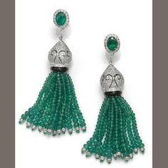 A pair of emerald, diamond and black onyx tassel earrings