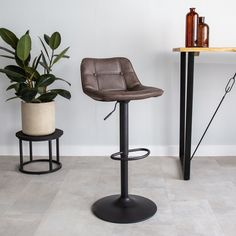 The Ezra bar stool has an elegant but tough appearance. The trumpet foot makes the stool very stable and tough looking. This stool is available from stock in 6 beautiful PU leather colours. Industrial Bar Stools, Taupe, Colours, Elegant, Furniture, Design, Home Decor, Products, Material