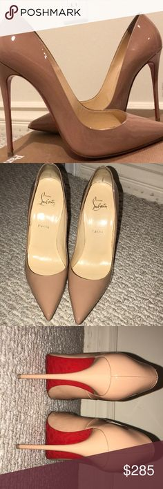 100% AUTHENTIC CHRISTIAN LOUBOUTIN SO KATE Patent Nude So Kate.  These shoes are in GREAT ALMOST EXCELLENT condition with the exception of the soles!!! The outside of shoes shows almost no wear.  I have gone over and over them and cannot find any scuffs or marks except for one tiny imperfection above left heel tip which is not noticeable at all. See pic. Christian Louboutin Shoes Heels