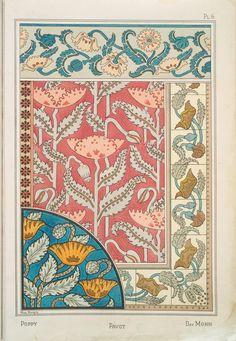 Eugène Grasset (Swiss, 1841-1917). La plante et ses applications ornementales. Poppy. Pl. 6. 1896.