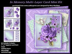 """In Memory Multi Layer Card Mini Kit on Craftsuprint designed by Mary MacBean - Layered card front with a cluster of roses and other flowers and a white dove. The kit has 3 sheets which include the card front (approx 7"""" x 7""""), insert, 2 matting layers, decoupage and sentiment tags. There are 5 sentiment tags, including a blank one for your own message.  - Now available for download!"""