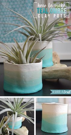 How to make Teal Ombre Clay Pots Air Plant succulent vase holder A Shade Of Teal Clay Vase, Clay Pots, Clay Planter, Diy Clay, Clay Crafts, Diy Air Dry Clay, Diy Y Manualidades, How To Make Clay, Ideias Diy