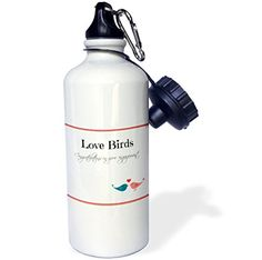 3dRose wb_222116_1 Congratulations on your engagement love birds with heart design Sports Water Bottle 21 oz White * Find out more about the great product at the image link.