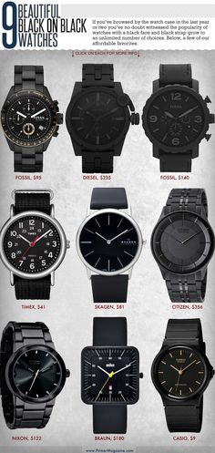 If you've browsed by the watch case in the last year or two you've no doubt witnessed the popularity of watches with a black face and black strap grow to an unlimited number of choices. Here are a few of our affordable favorites.