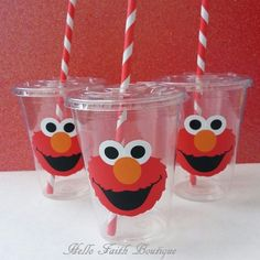 Set of 12 -  Elmo Party Cups, Elmo, Elmo Birthday Party, Sesame Street, Emlo Decor, Cookie Monster Party Cups