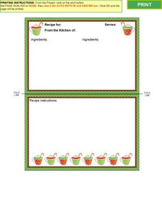 holiday recipe cards with holly garland border 4 per page templates officecom borders pinterest recipe cards card templates and template