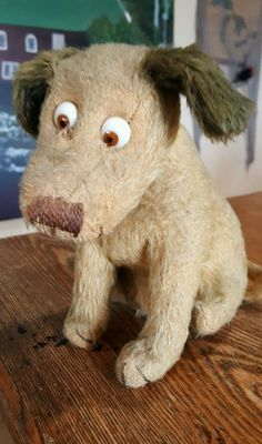 Antique Mohair Einco Glass Googly Eye Character Dog 7""