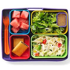 School lunch idea in cute container from laptoplunches.com! * 1 cup bow-tie pasta salad with veggies * 1 cup salad w/ 2 tablespoons low-fat dressing * 3/4 cup watermelon *2 fig cookies