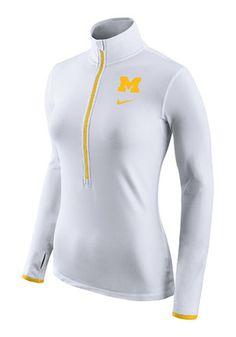 Nike Michigan Womens Hyperwarm White 1/4 Zip Performance Pullover