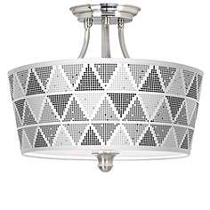 This contemporary semi-flushmount ceiling light with Pointillism pattern shade makes a sophisticated statement. Style # at Lamps Plus. Drum Ceiling Lights, Ceiling Light Fixtures, Chinese Drum, Design Page, Drum Room, Ceiling Light Design, Designer Shades, Living Room Update, Pointillism