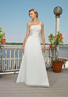 Ein Schulter Empire Taille Chiffon Brautkleider Brautmoden