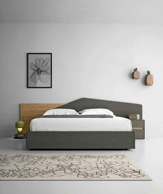 Get great styles of double bed headboards for your bedrooms double bed headboards double bed / contemporary / with upholstered headboard / upholstered minimal BQZUFQR Bed Headboard Design, Bedroom Bed Design, Bedroom Furniture Design, Headboards For Beds, Bed Furniture, Furniture Vintage, Queen Headboard, Furniture Makeover, Double Headboard