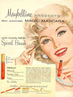Maybelline mascara ad from the 1960's. I only remember my Mother using the cake one, wet the brush, rub back 'n forth, apply.