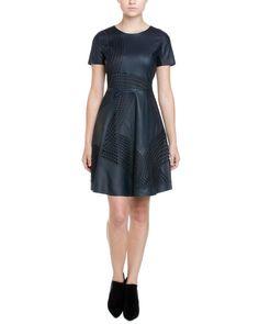 Elie Tahari Evangelina Navy Yard Leather Cutout Dress