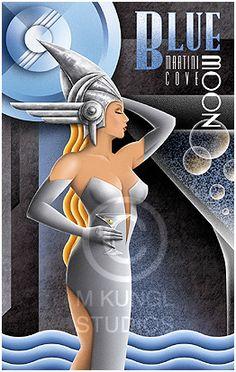 Michael Kungl Art~ Blue Moon ~ Art Decó