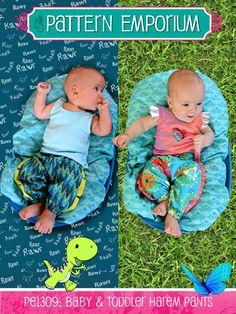 PE1309: Baby & Toddler Harem Pants featuring Ruffles & Dinosaur Panels | Pattern Emporium
