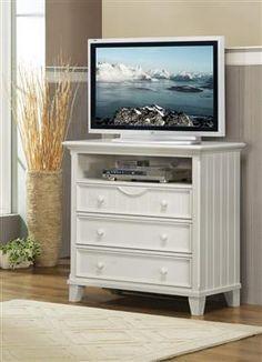 Alyssa Casual White Wood Round Knobs TV Chest