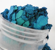 Crush  Mineral Makeup EyeShadow  5g Sifter Jar Blue Green Eye Shadow Petite Size Duo Chrome on Etsy, $5.50