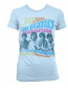 The Beatles Hey Jude Revolution Womens T-Shirt - This white t-shirt features a portrait of the Beatles from their Hey Jude/ Revolution album cover printed on its front.