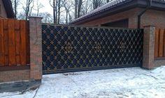 Кованые откатные ворота Front Gate Design, Main Gate Design, House Gate Design, Door Gate Design, Metal Gates, Wrought Iron Gates, Front Gates, Entrance Gates, Gate Designs Modern